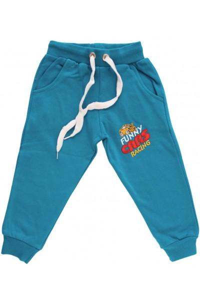 pantaloni bumbac copii turcoaz funny cars