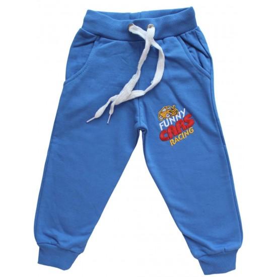 pantaloni bumbac copii albastrii funny cars