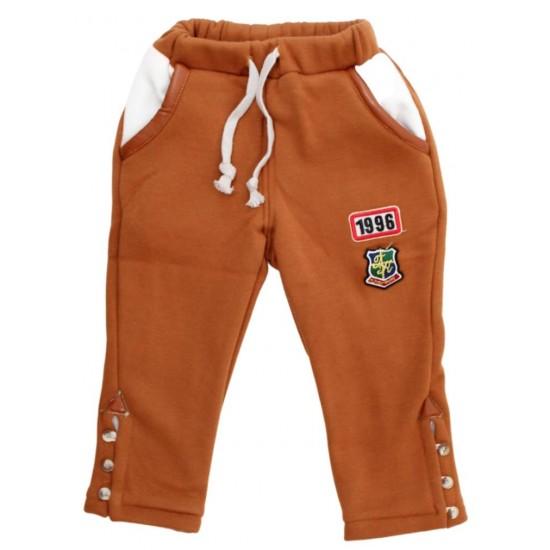 Pantaloni copii maro cu nasturi laterali