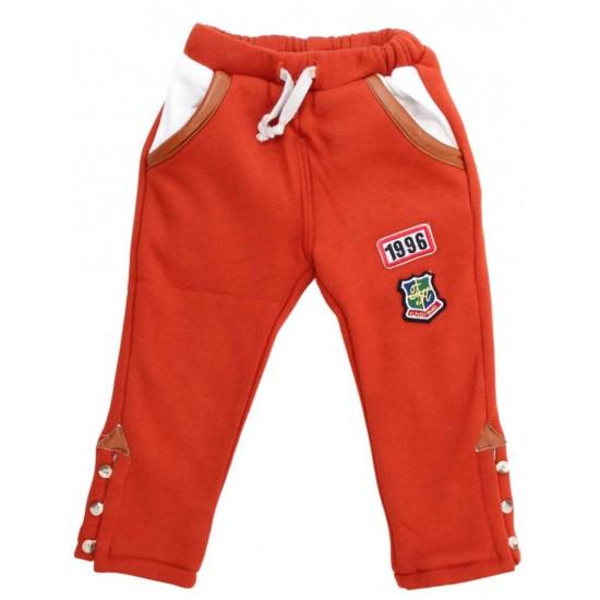Pantaloni copii caramizii cu nasturi laterali