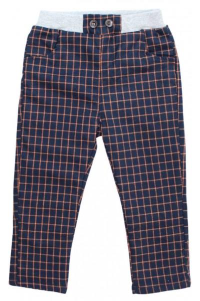 Pantaloni copii bleumarin dungi caramizii