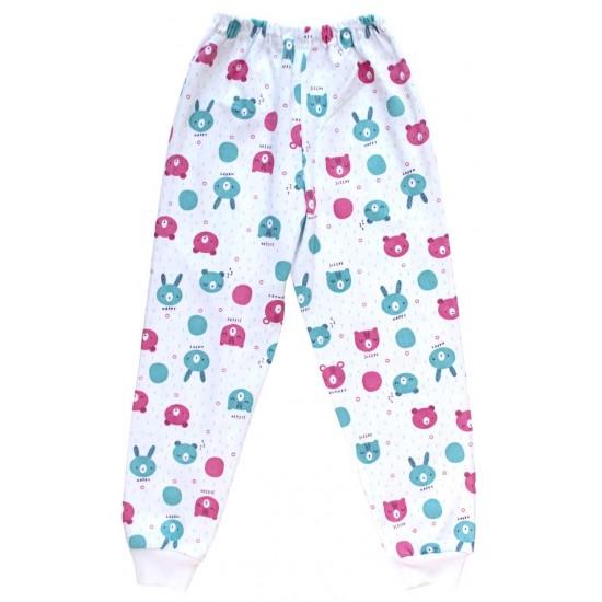 Pantaloni casa bumbac cap urs bleu-roz