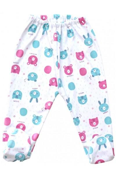 pantaloni botosel bumbac cap urs bleu roz