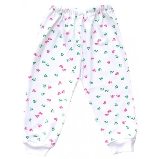 Pantalon casa bumbac urme pasi roz-verde