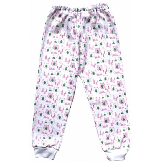 pantaloni casa bumbac ursuleti roz
