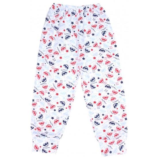 Pantaloni casa bumbac subtire masini rosii bleumarin