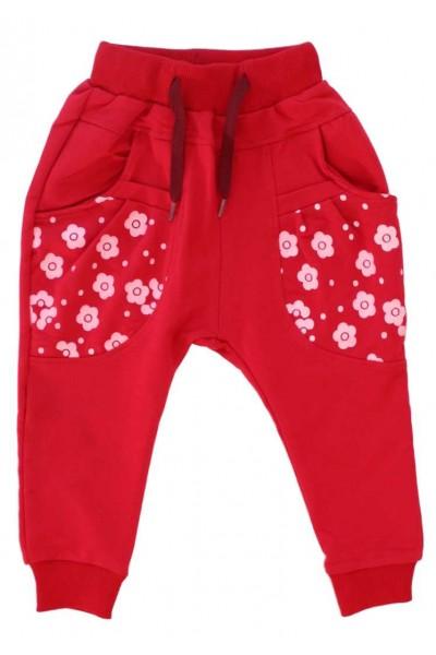pantaloni fete rosi floricele