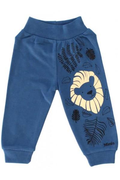 pantaloni bumbac bebe albastru imprimeu leu