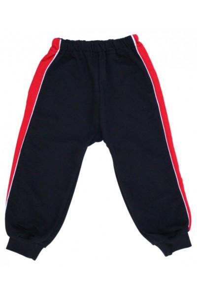 pantaloni trening copii bleumarin insert rosu