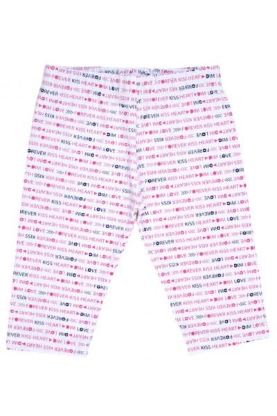 colanti trei-sferturi bumbac subtire albi imprimeu scris roz