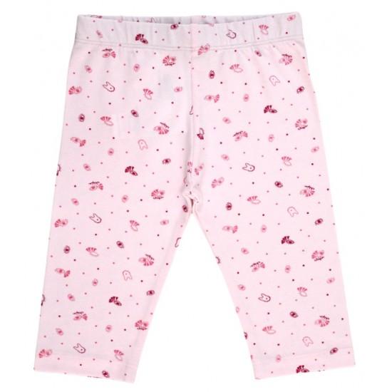 colanti trei-sferturi bumbac subtire roz ochisori