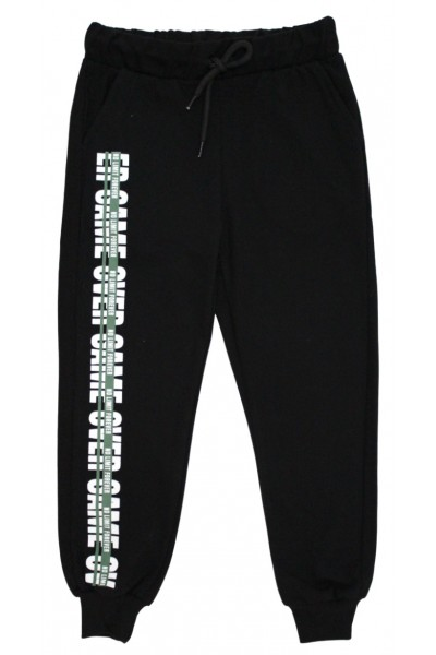 Pantaloni trening baieti game over negru-verde