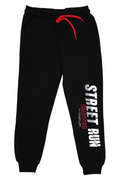 Pantaloni trening baieti street run negru-rosu
