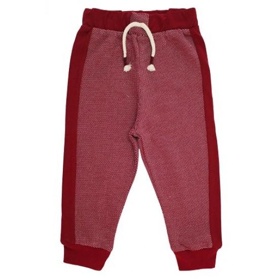 pantaloni trening copii visiniu punctulete albe