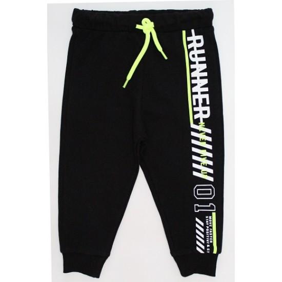 Pantaloni trening baieti runner negru-fistic