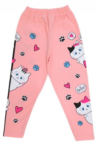 Colanti fete bumbac pisicute roz piersica