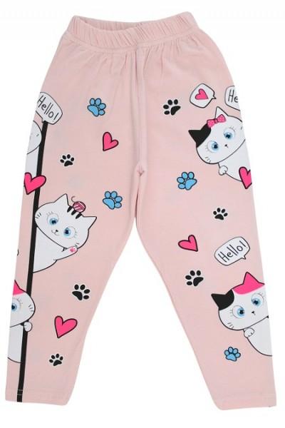 Colanti fete bumbac pisicute roz pal