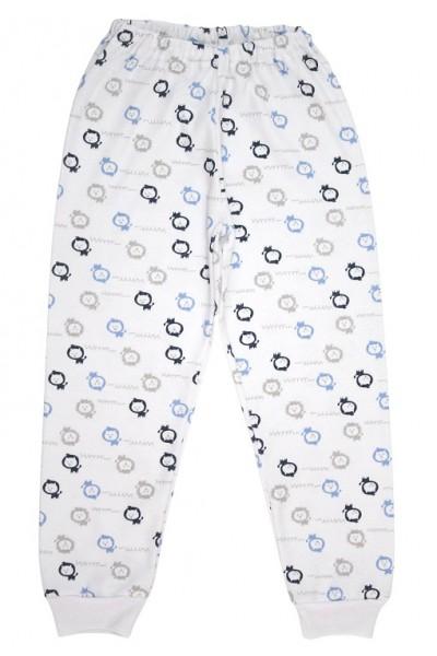 Pantaloni copii bumbac lei gri-bleu