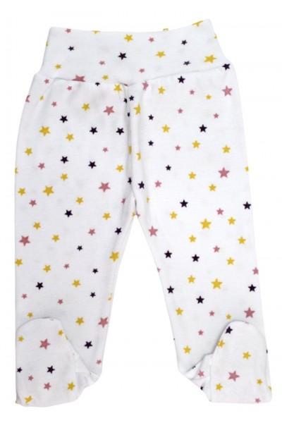 Pantaloni bumbac botosei stelute roz-galben