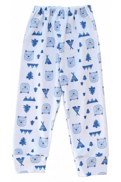 pantaloni casa bumbac cap urs albastru