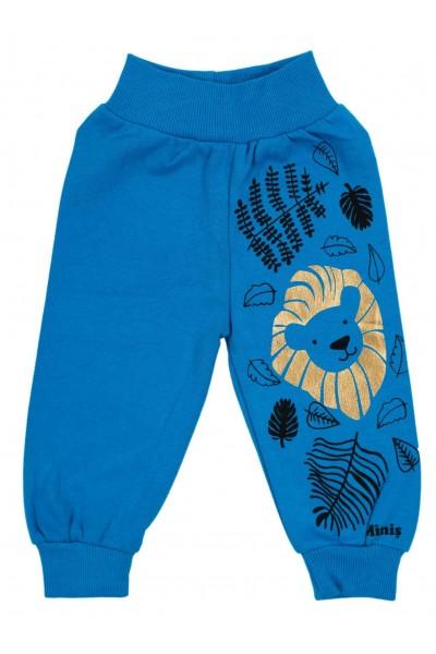 Pantaloni bumbac bebe turcoaz imprimeu leu