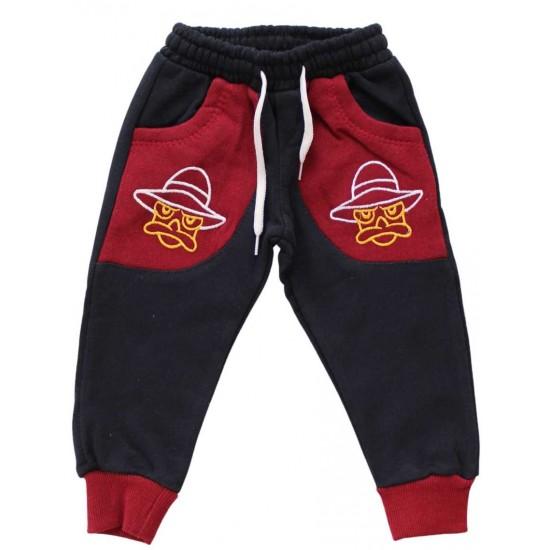 pantaloni bumbac copii bleumarin-grena