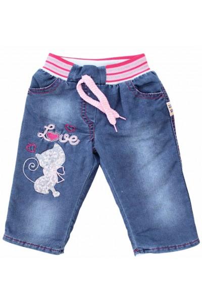pantaloni copii denim imblaniti pisica