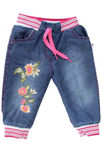 pantaloni copii denim imblaniti floricele