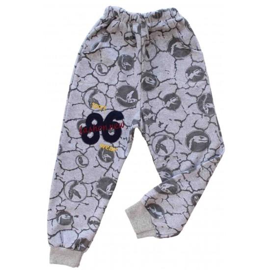 pantaloni bumbac vatuiti copii gri sport 86
