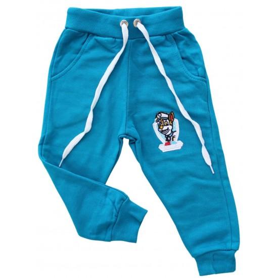 pantaloni bumbac copii turcoaz