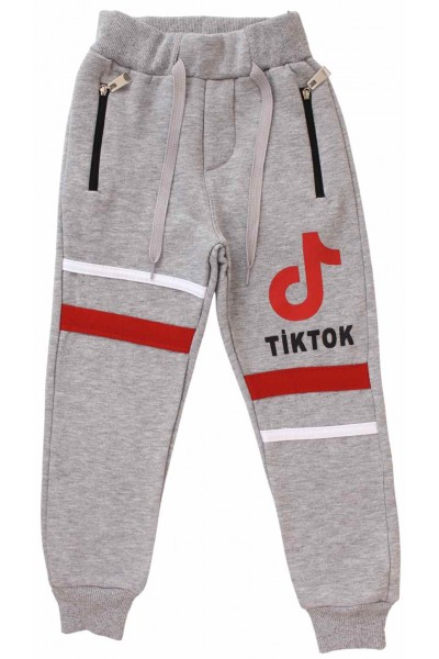 pantaloni bumbac copii gri tiktok
