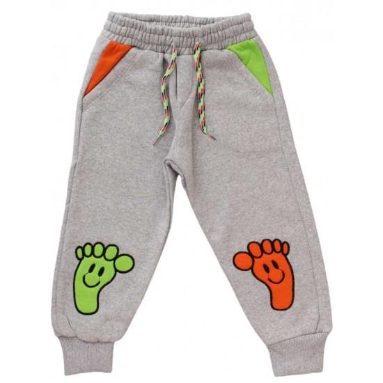 Pantaloni bumbac copii gri deschis urme de pasi