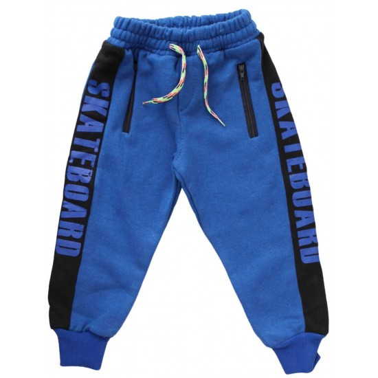 pantaloni bumbac copii albastri skateboard