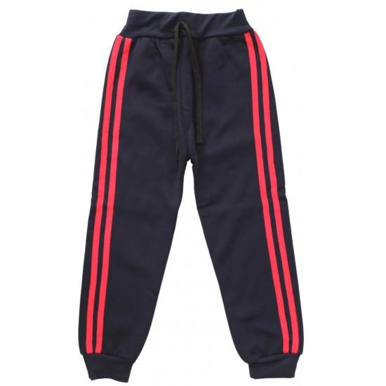 pantaloni trening bleumarin dungi rosii