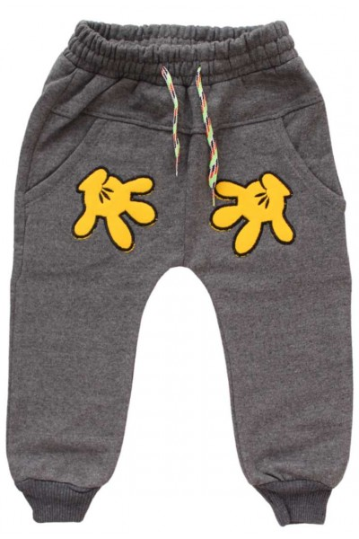 pantaloni gri manute