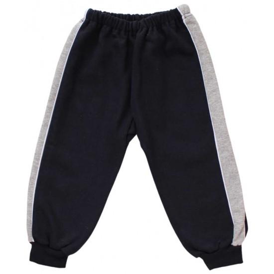 pantaloni trening vatuiti copii bleumarin insert gri