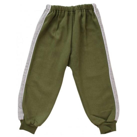 pantaloni trening vatuiti copii kaki insert gri