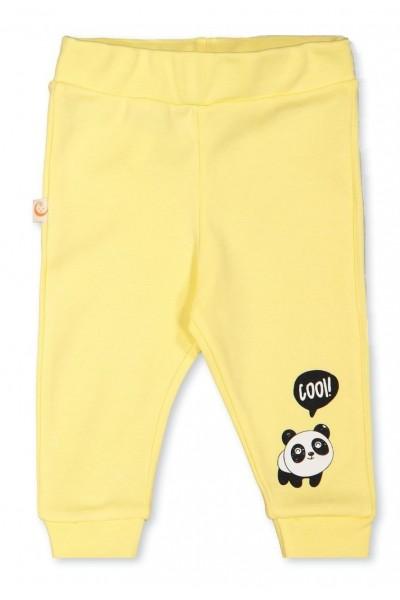 Pantaloni bebelusi bumbac galbeni cool panda