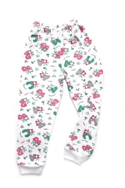 pantaloni casa azuga imprimeu ursuleti-litere verzi-cyclame