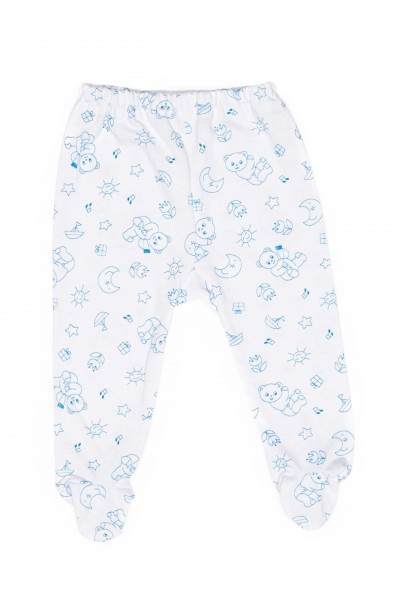 Pantalon botosel azuga bumbac subtire ursuleti albastrii
