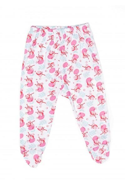 Pantalon botosel azuga bumbac subtire flori roz