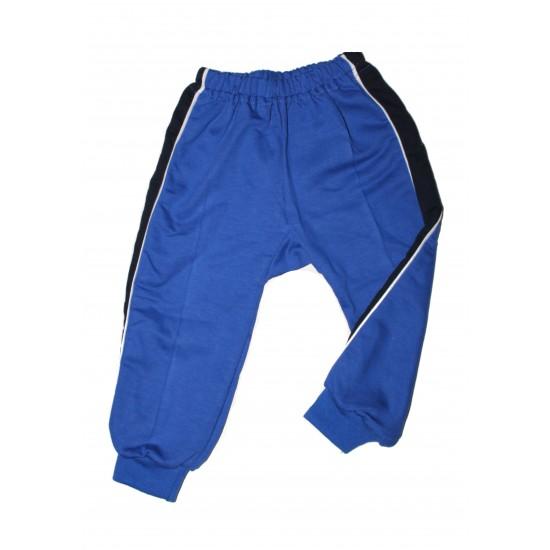 pantaloni trening azuga albastru insert lateral bleumarin