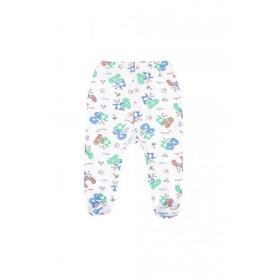 pantalon botosel azuga imprimeu ursuleti albastri-verzi