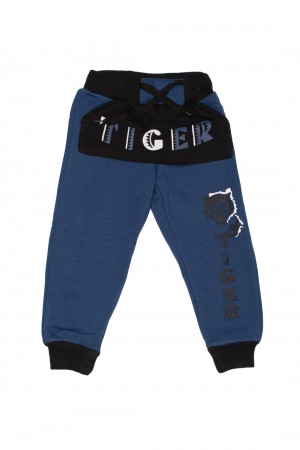 pantaloni asya albastru inchis imprimeu tigru