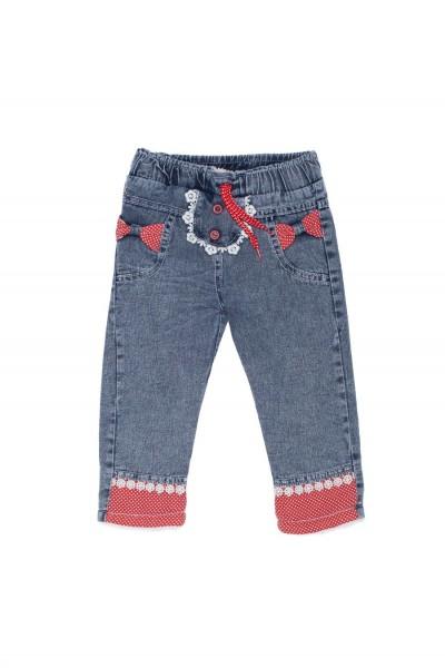 pantaloni denim fete aynur imblaniti insert rosu buline