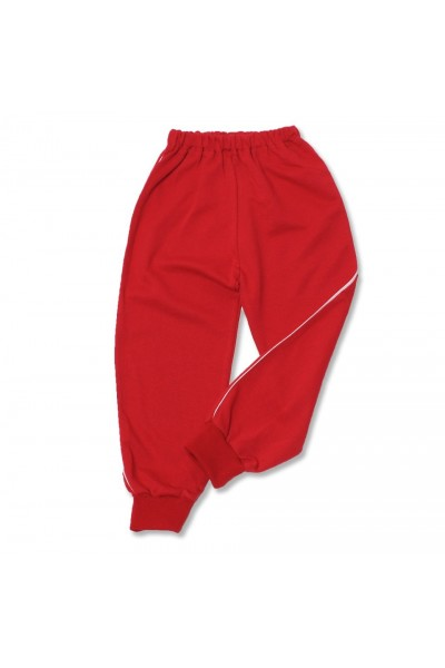 Pantaloni trening rosii vipusca alba