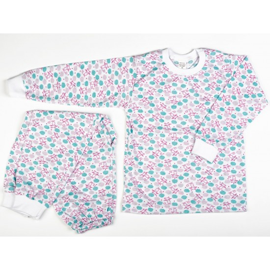 Pijama Baby Azuga pink cats bumbac subtire