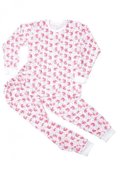 Pijamale bumbac subtire Azuga flori roz