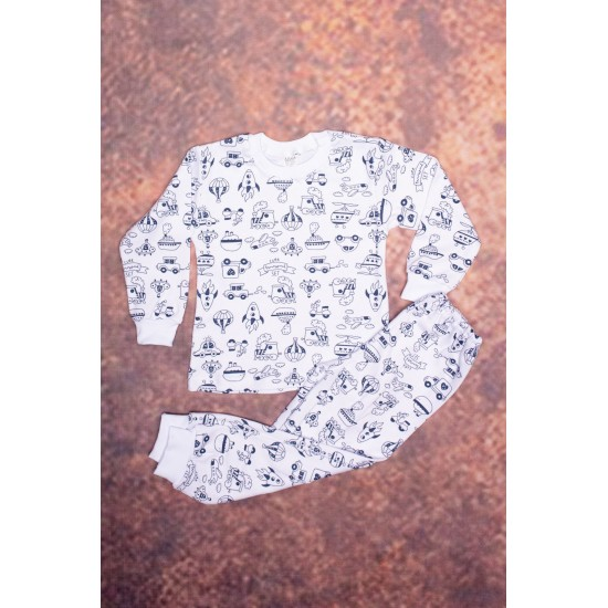 Pijama copii azuga imprimeu mijloace transport