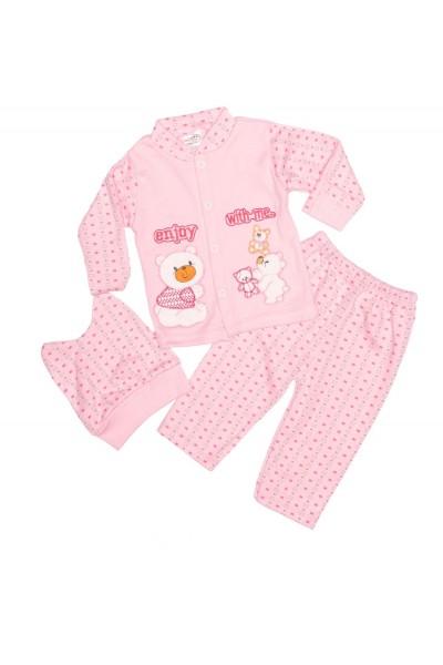 costum copii trei piese melish roz imprimeu ursuleti